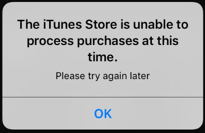 「The iTunes Store is unable to process purchases at this time」エラーの原因と対策